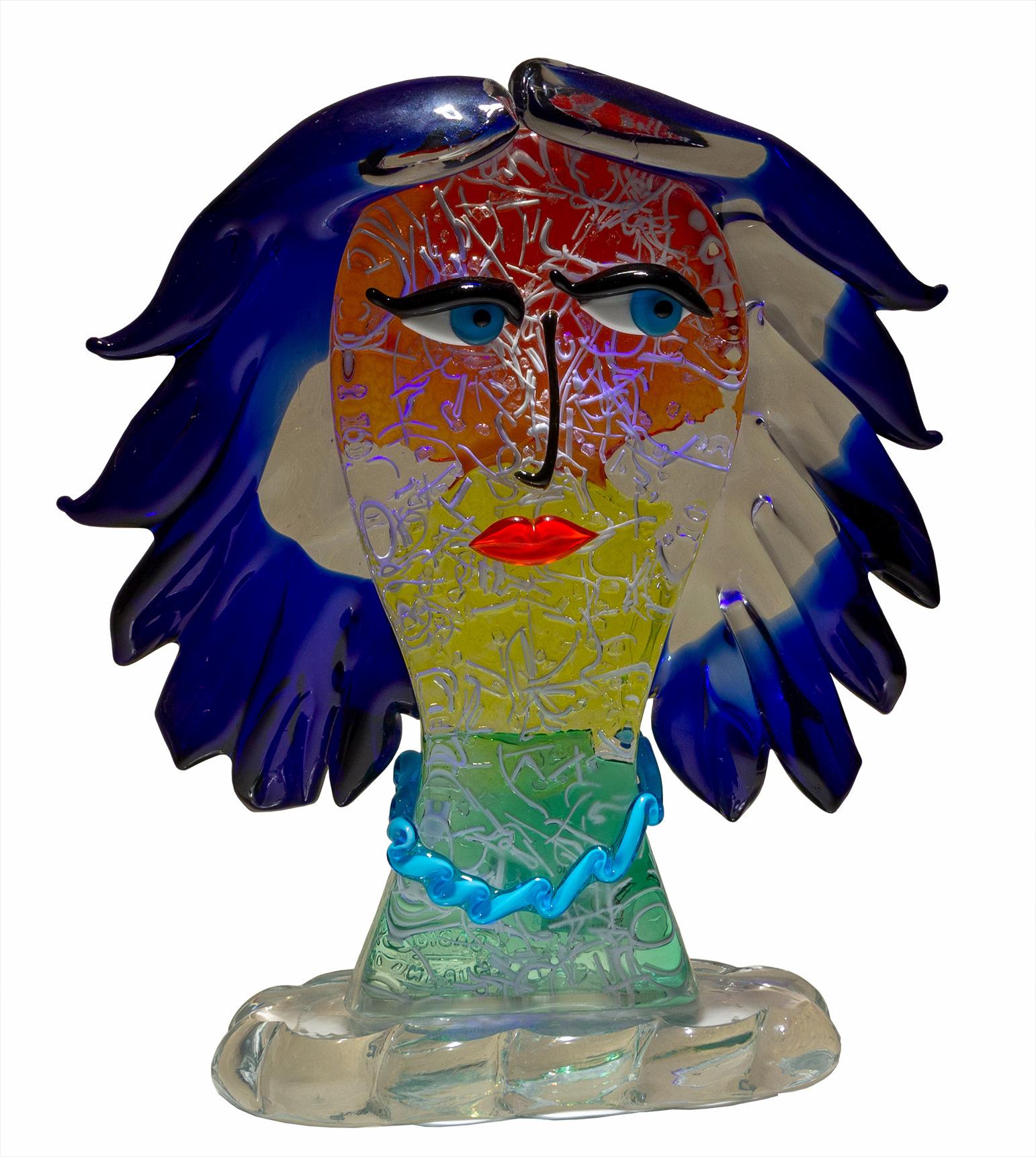 Testa di Donna in Blu - La San Marco Vetri D'Arte